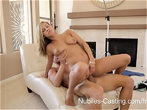 super-hot nubile Kennedy Leigh takes a blast of jism to the face