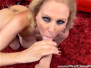 insane pussy pot cougar Julia Ann gargling on a ample beef whistle and getting a enormous geyser to her knockers
