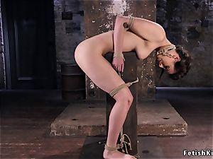 dark haired enduring in different extraordinary restrain bondage