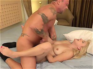 Vallerie milky deep throats a thick beef whistle and Has soles jizzed on