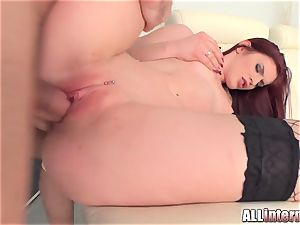 Tall lady Mira's cooch is poked and packed with cum