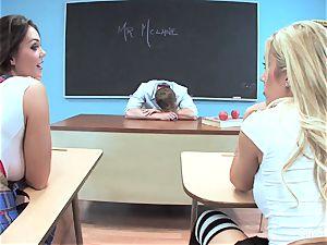2 crazy schoolgirls have joy with their professor