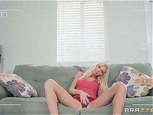 Smoking super-steamy platinum-blonde Astrid star inhaling man meat