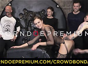 CROWD bondage - extraordinary bdsm poke wheel with Tina Kay