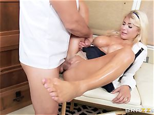 Kayla Kayden is soothed by her moms masseuse