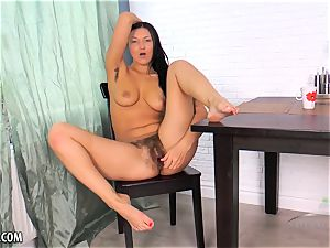 hairy Russian jerks with a fucktoy