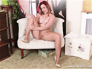 English redhead rips open shiny nude stockings to jack