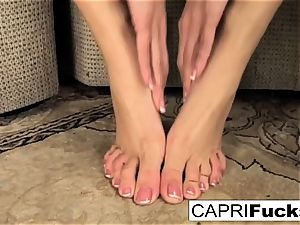 Capri plays with her poon and soles