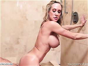 buxom cougar Brandi love with ample orbs seduces her stepson in the shower