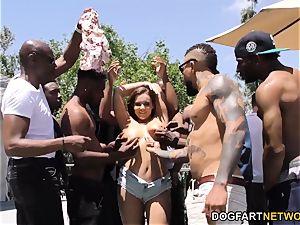Natasha ultra-cute bi-racial gang-bang fuckfest