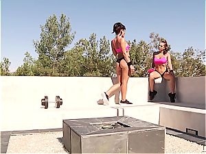 bootylicious lezzies stretch for the ultimate buttfuck workout