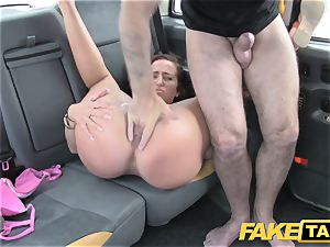 faux taxi female in pink lingerie gets creampied