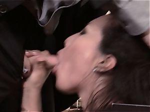 Asa Akira boinks succulent manstick over the office desk