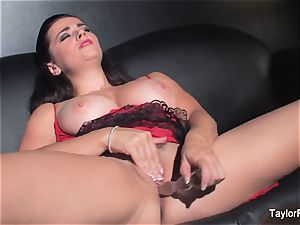 Naturally big-titted Taylor playthings her humid twat
