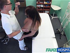 FakeHospital honey wants jizz all over her huge hefty boobs