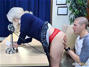 super-naughty platinum-blonde Alix Lovell railing on top of Xander Corvus