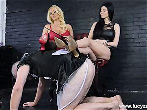 domina Lucy Zara Lilly Roma crop humiliate sissy maid