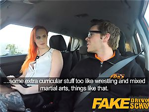 fake Driving school tattooed redhead hankers a large spear
