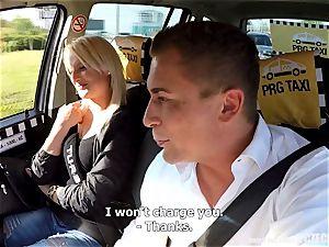 Strangers Voyeurs witnessing Czech taxi car in act