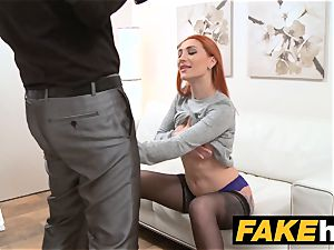 faux Agent redhead chooses hard pecker over humid snatch