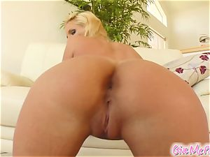 Phoenix's puss gets mouth-watering from her monster dildo