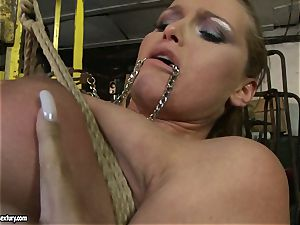 Kathia Nobili and Mandy Bright assets strapping with wire
